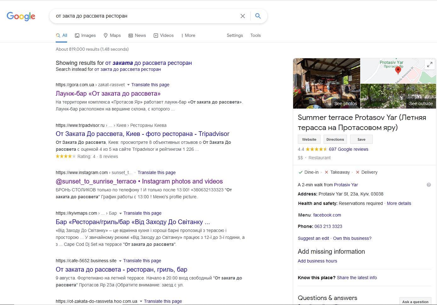 Google My Business в поисковой выдаче Google