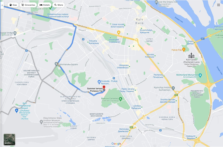 Геометка ресторана на картах Google